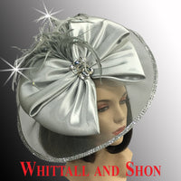 Whittall & Shon Silver Jewel Box Illusion Fascinator With Jewel Brooch FA2510 JEWEL BOX Hat Fall 2019