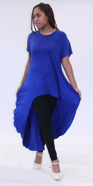 CHH-19064 Royal Blue Solid Plus Size One Size Rayon Spandex Knitted Hi-Lo Shirt Dress with Pockets Spring 2020