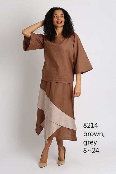 Ella Belle Khaki and Brown Linen Set 8214 Markdown 2019