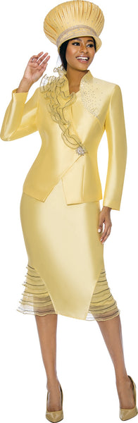 Susanna Canary Yellow Ruffle Jacket and Skirt Trim Suit S3900 Markdown 2019