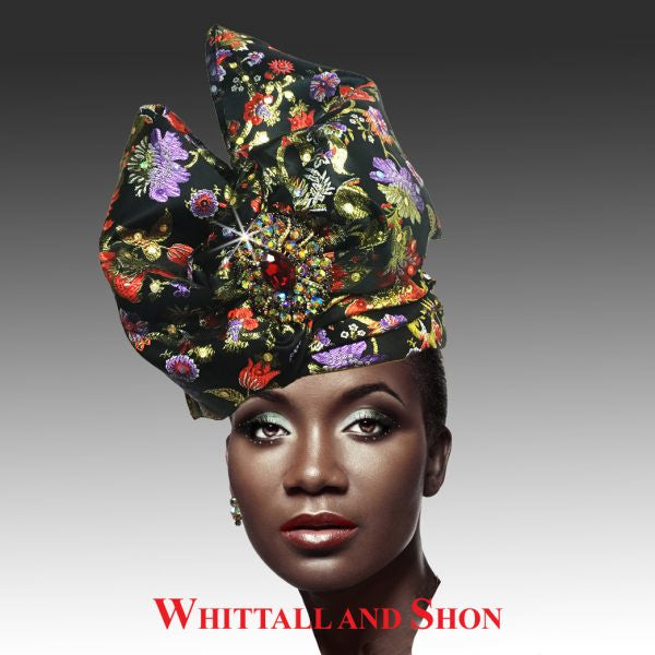 Whittall & Shon Black Exotic Draped Turban with Jewel Brooch Hat 2518 ABABA Fall 2019