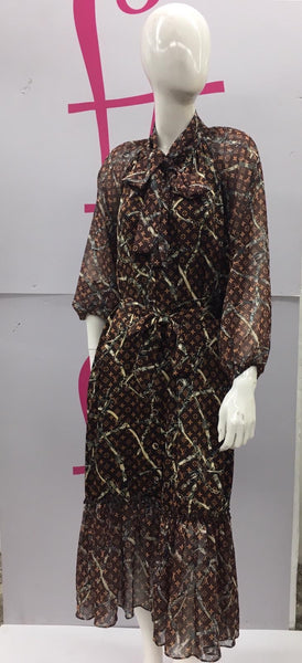 FT New York Status Print LV Brown D19502 Dress Spring 2020