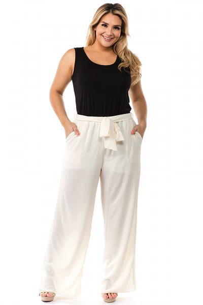 Spin Off-White Palazzo Pant with Belt P3232 Summer 2019
