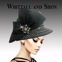 Whittall & Shon Black Opulent Jewel Encrusted Bucket Hat 2520 FABERGE Fall 2019