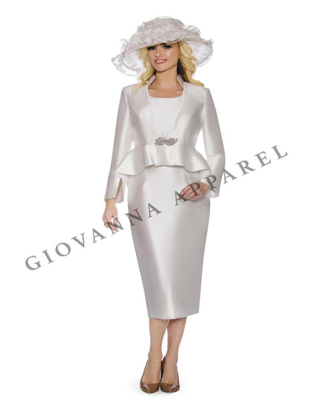 Giovanna White 3pc Silky Twill Suit G1085 Markdown 2019