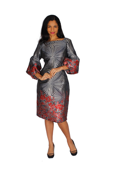 Diana Silver Grey Red Dress 8532 Spring 2020