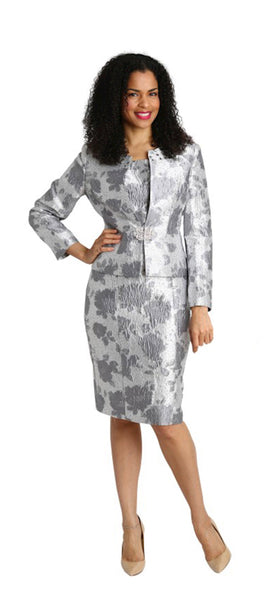 Diana Silver Brocade 2pc Jacket Dress 8271 Fall 2019