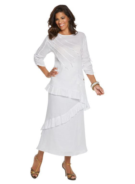 Lisa Rene White Linen Tunic & Skirt Set 3337 Markdown 2019