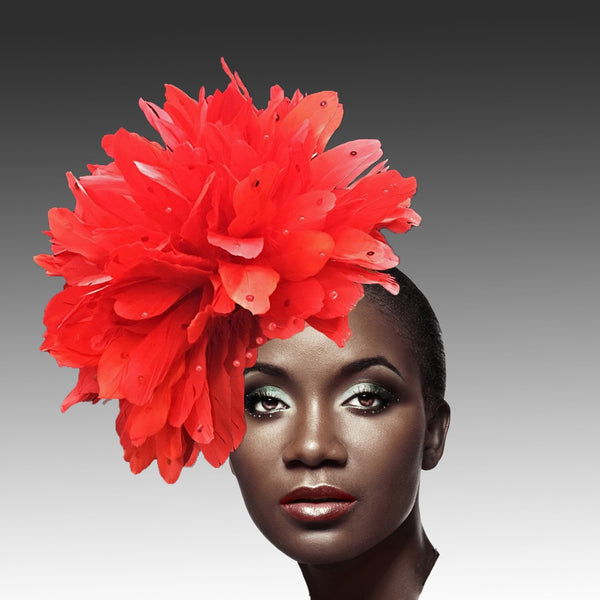Whittall & Shon Red Fireworks of  Feather Fascinator Hat FA2280 DAZZLE Fall 2019