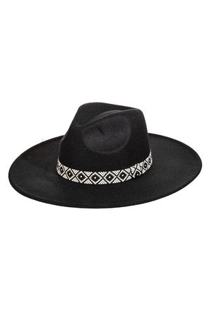 Black Fame Flat Brim Tribal Strap Fashion Fedora Hat JCH4072 Spring 2021