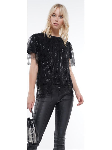 WHY Sequin Mesh Top T190790 Holiday 2019