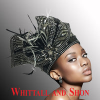 Whittall & Shon Black Silver Highly Embellished Pillbox Hat with Sculptured Bow 2514-TAPESTRY Fall 2019