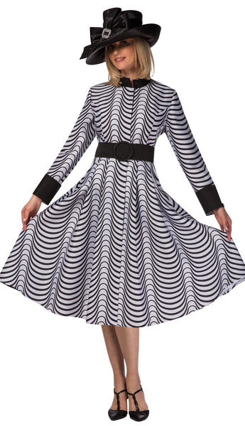 Giovanna Black & White Soft Silky Twill Dress with Belt D1516 Holiday 2019
