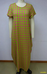 CHH-20001 Lime with Pink Grid Print Plus Size Spandex Knitted Balloon Long Dress with Pockets Spring 2020