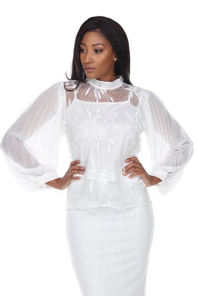 Capriana Couture White Top RA-029 Spring 2020