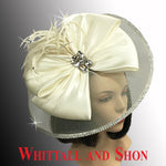 Whittall & Shon Off- White Multi Jewel Box Illusion Fascinator With Jewel Brooch FA2510 JEWEL BOX Hat Fall 2019