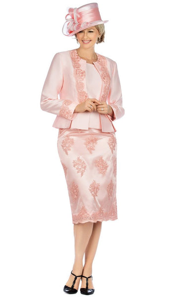 Giovanna Pink 3pc Satin and Lace Embellishment Skirt Suit G0844 Fall 2020