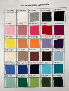 Cotton Lycra Solid Color Fabric Chart