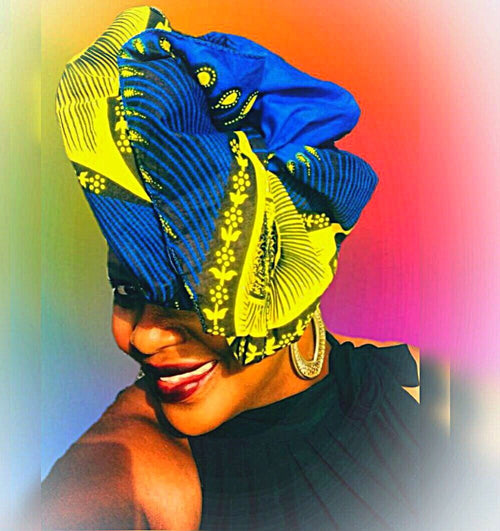 Indigo Blue African Head Wrap