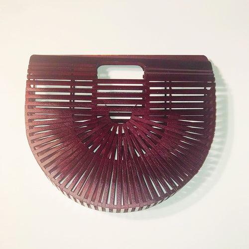 Burgundy Bamboo Clutch