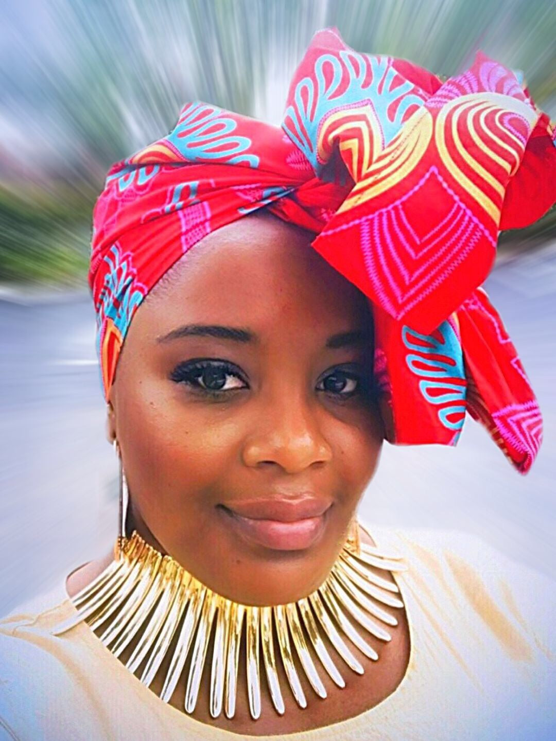 Beautiful Reversible Red based multi-colored head wrap