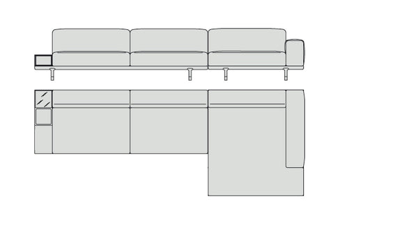Porada Argo Sectional 380 cm with container