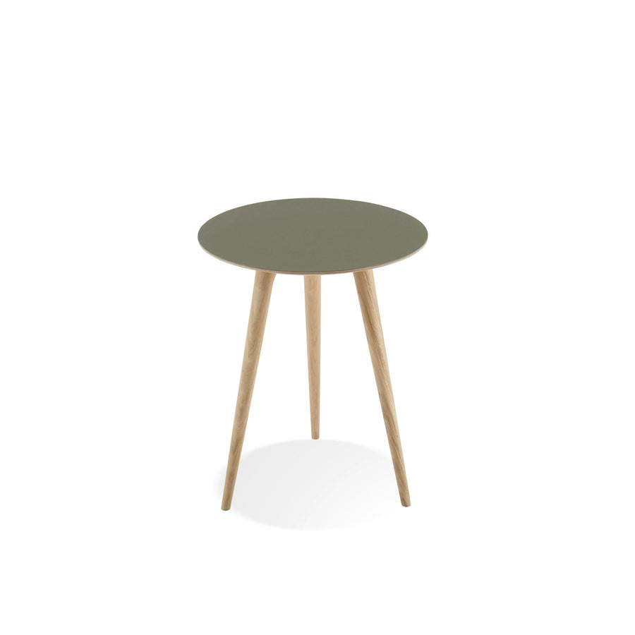 Gazzda Arp Side Table 45 in whitened Oak and Dark Olive Linoleum