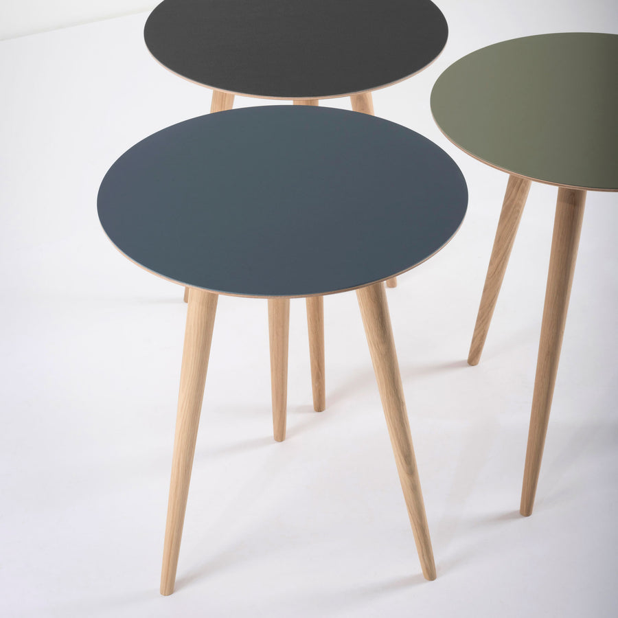 Gazzda Arp Side Tables 45 in whitened Oak and Linoleum
