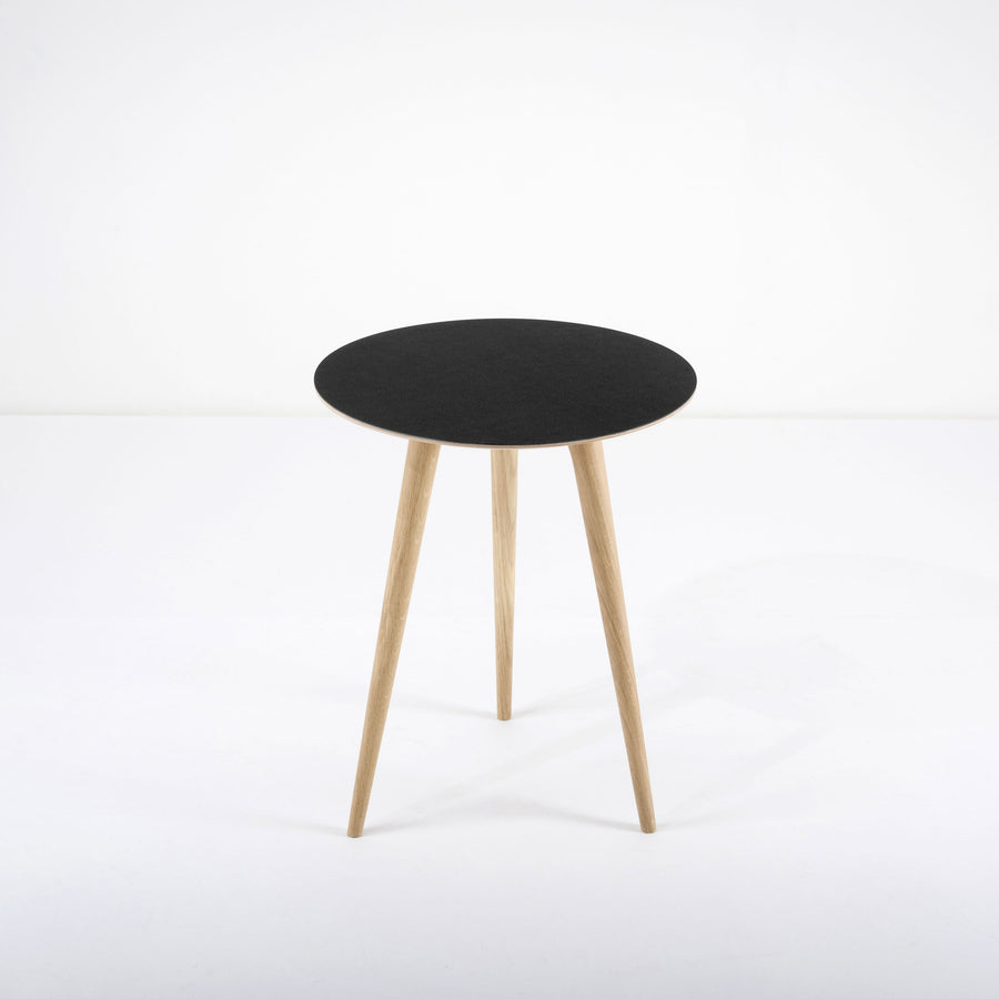 Gazzda Arp Side Table 45 in whitened Oak and Black Linoleum