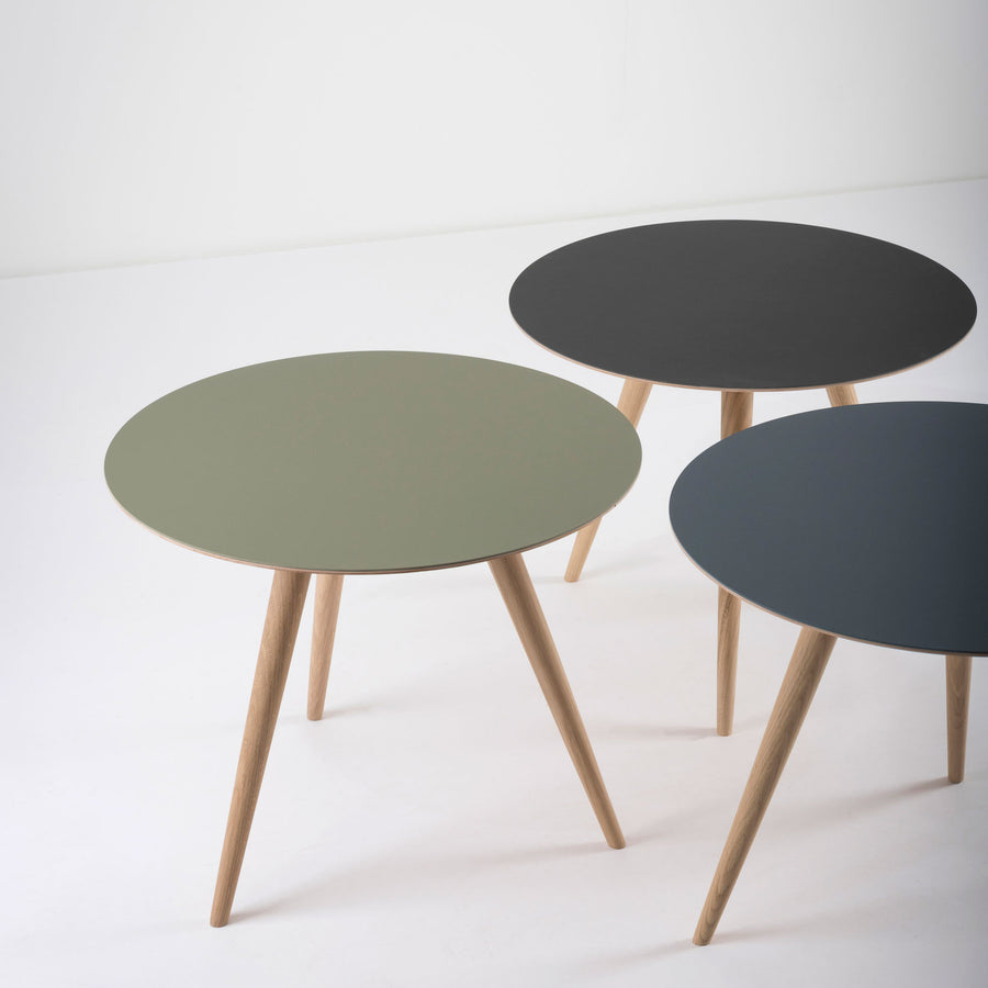 Gazzda Arp Side Tables 55 in whitened Oak and Linoleum