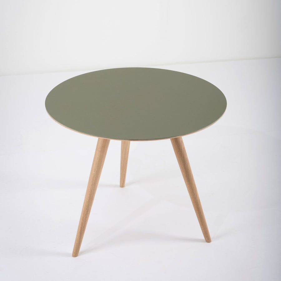 Gazzda Arp Side Table 55 in whitened Oak and Dark Olive Linoleum