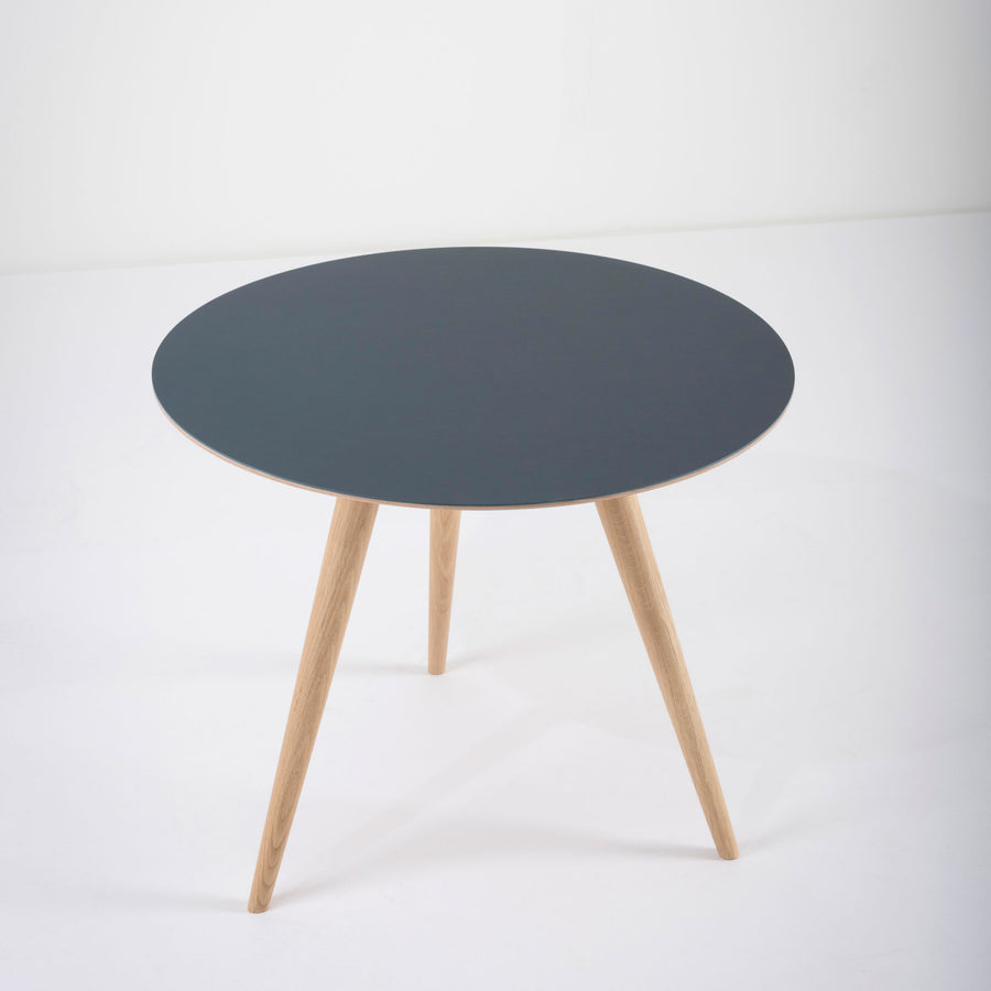 Gazzda Arp Side Table 55 in whitened Oak and Smokey Blue Linoleum
