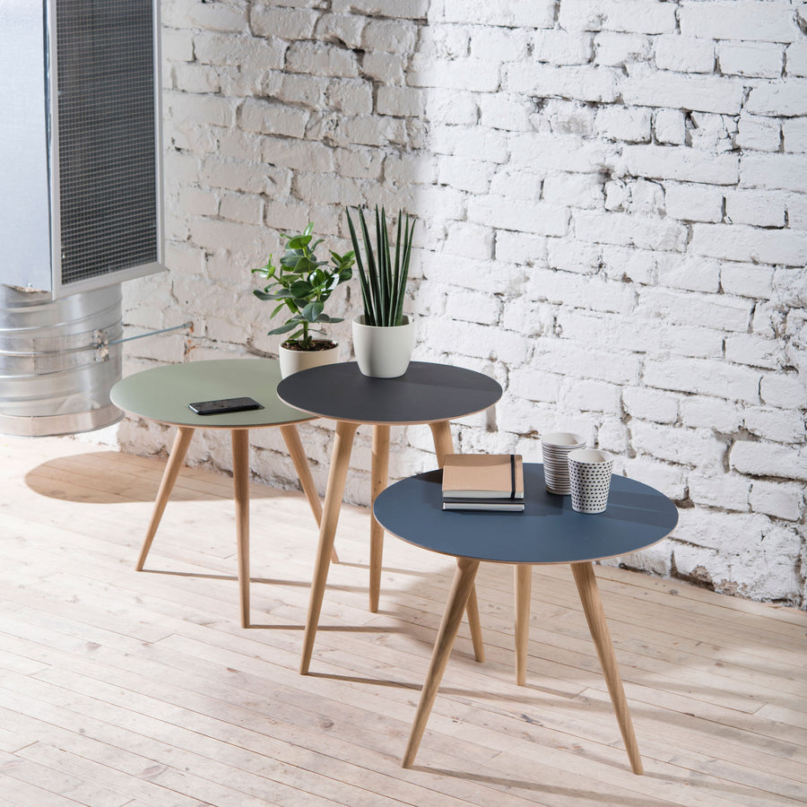 Gazzda Arp Side Tables  in whitened Oak and Smokey Blue Linoleum