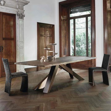 Bonaldo Big Table in solid Walnut with Natural Edge, ambient