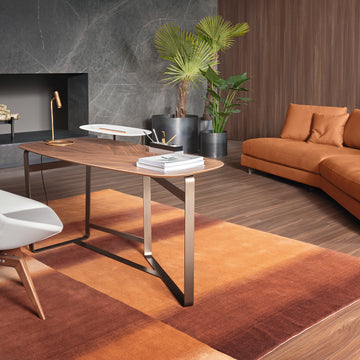 Bonaldo Gauss Desk in Walnut and Steel, made in Italy