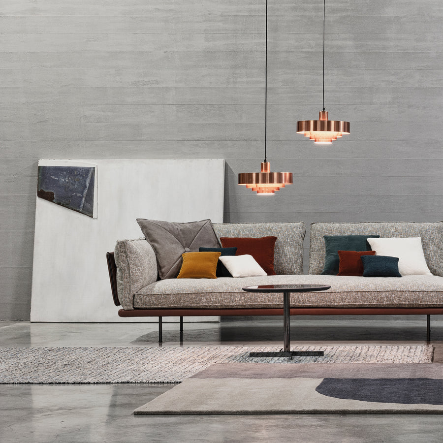 Cierre Divine Sofa in Leather and Fabric  - made in Italy - Spencer Interiors