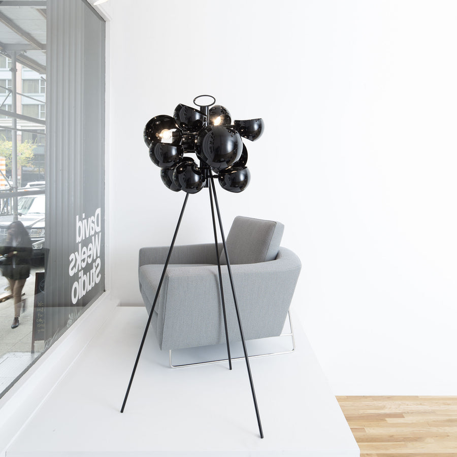 David Weeks Studio, Kopra Standing Lamp, Black Gloss, ambient