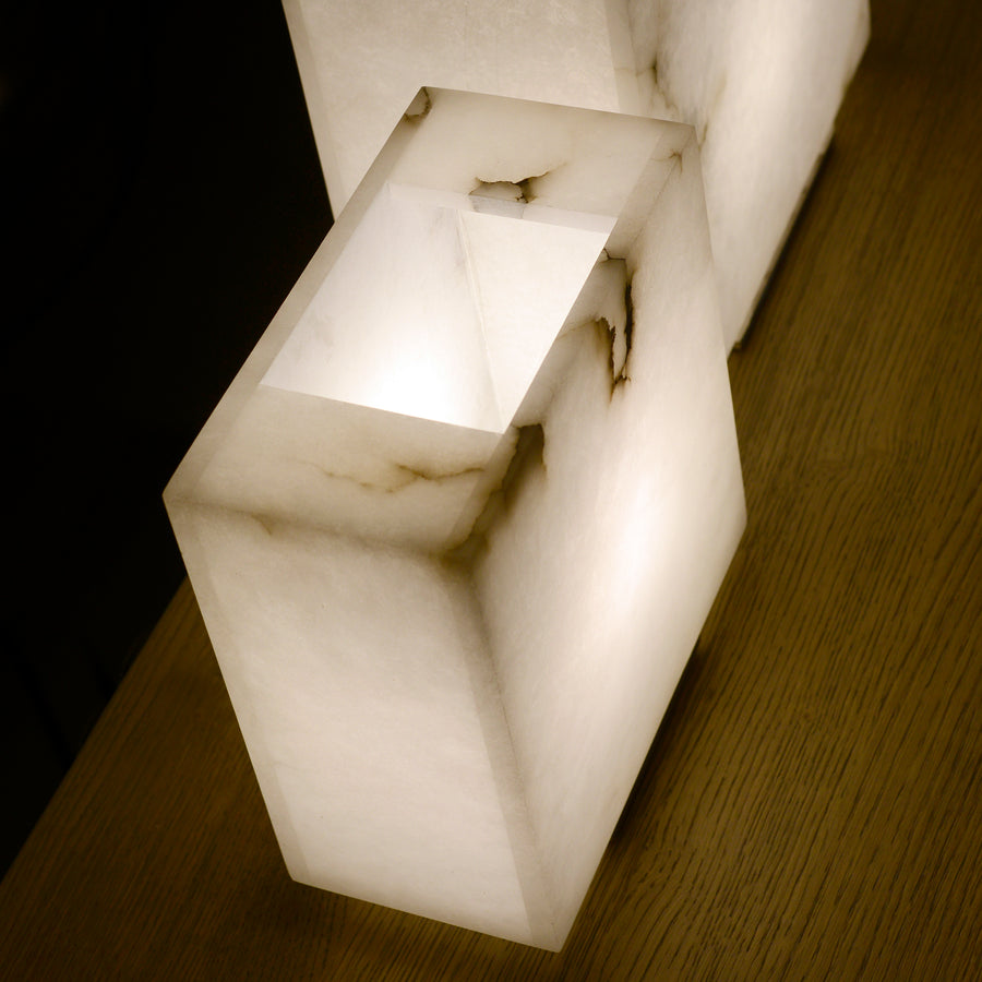 Dema Alabaster Table Lamps, top detail - made in Tuscany
