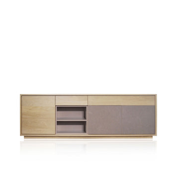 Expormim, Sideboard in Solid Oak With 2 Lacquered Doors