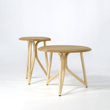 Kiri Small Tables, Solid Wood Top
