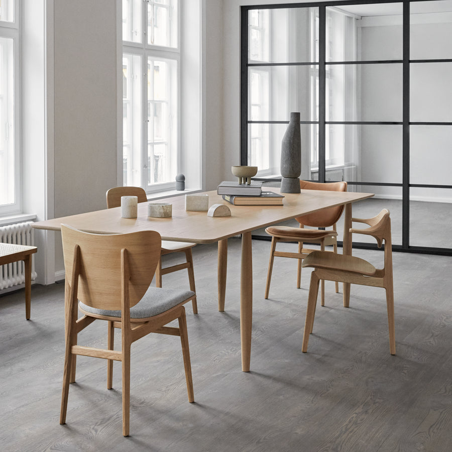 Norr11 Denmark, Oku Modern Dining Table in Natural Oak, ambient with Elephant Chairs  | Spencer Interiors