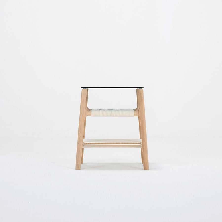 Gazzda Fawn Side Table in solid Oak, Rope, and Glass | Spencer Interiors
