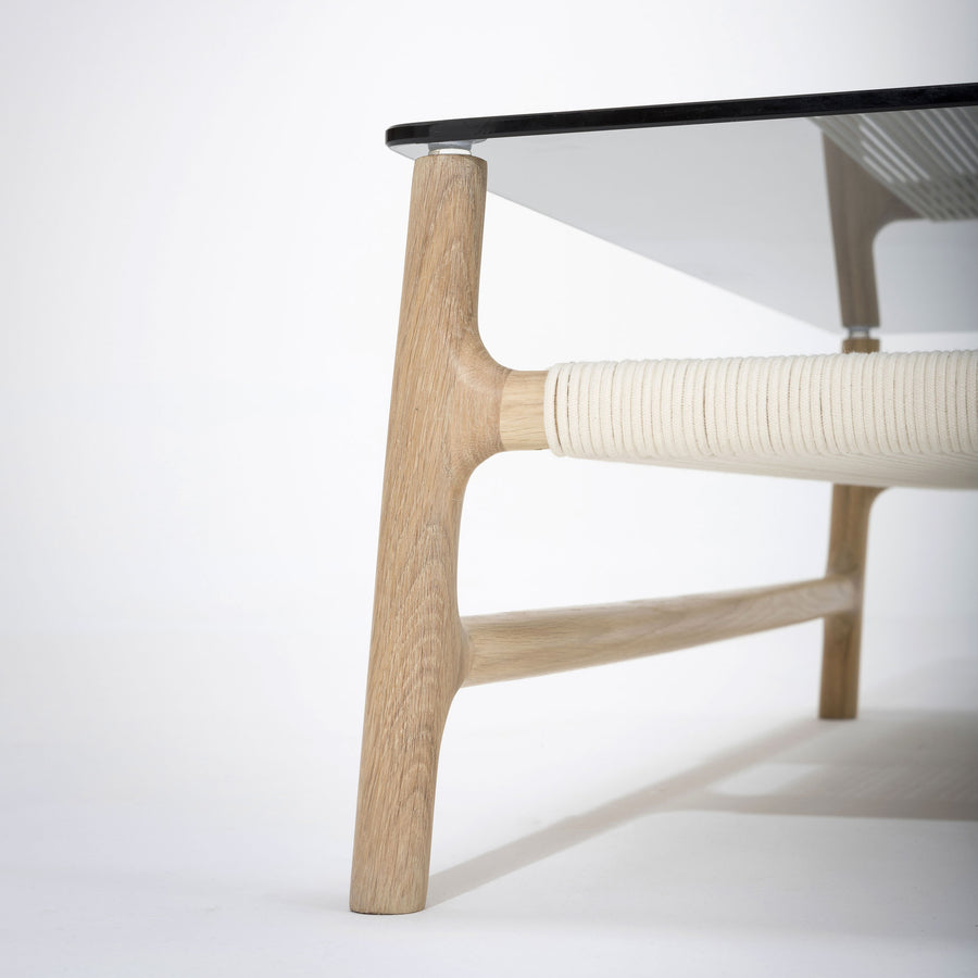 Gazzda Fawn Square Coffee Table in solid Oak and Glass | Spencer Interiors