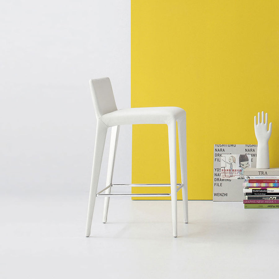 Bonaldo Filly Too Counter Stool covered in Capri Leather, made in Italy