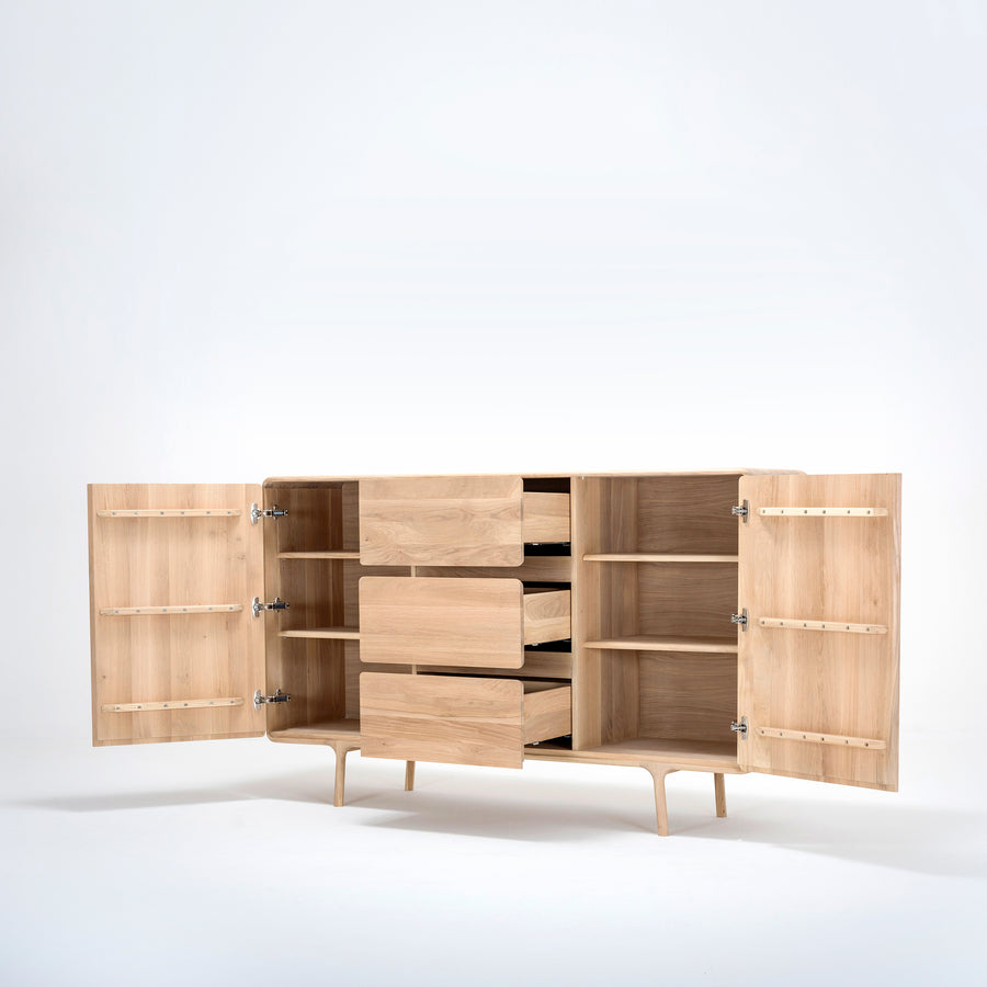 Gazzda, large Fawn Dresser in solid Oak, doors and drawers open | Spencer Interiors