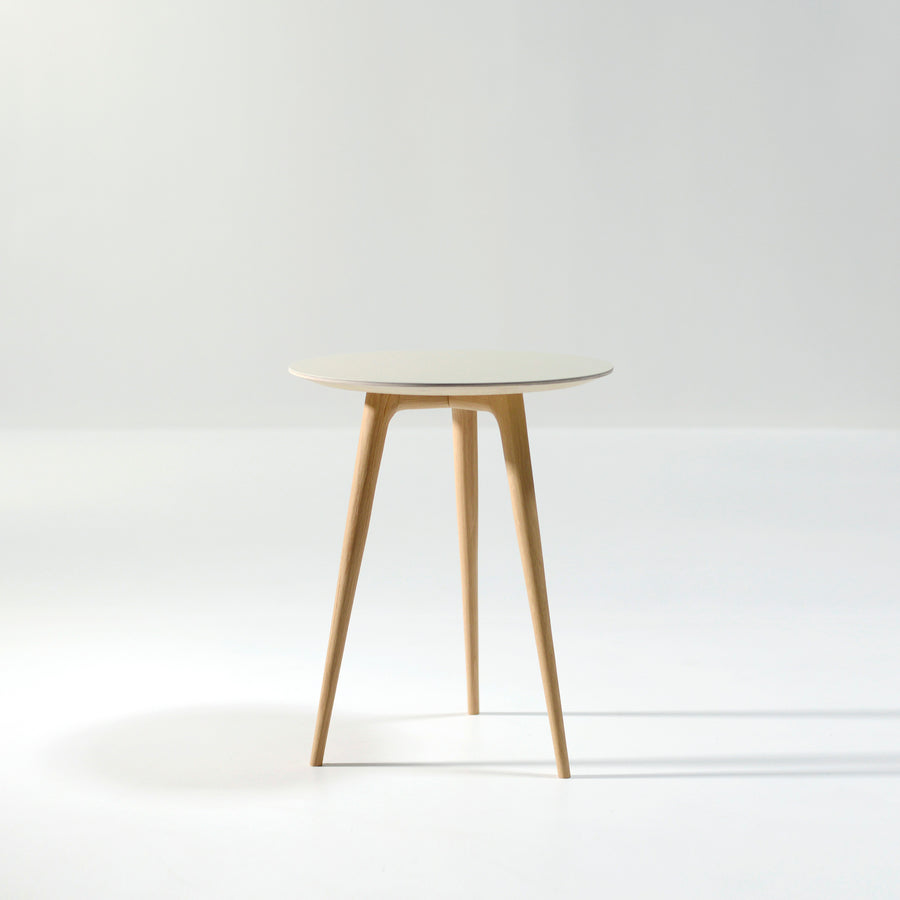 Gazzda Arp Side Table 45 in whitened Oak and Mushroom Linoleum