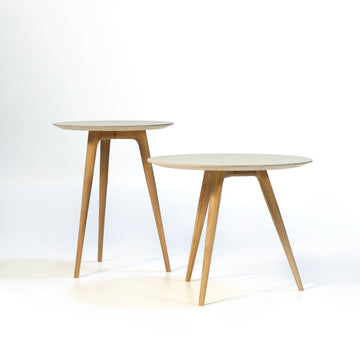 Gazzda Arp Side Tables in whitened Oak and Mushroom Linoleum