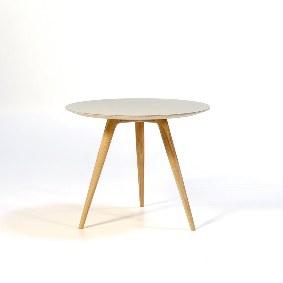 Gazzda Arp Side Table 55 in whitened Oak and Mushroom Linoleum