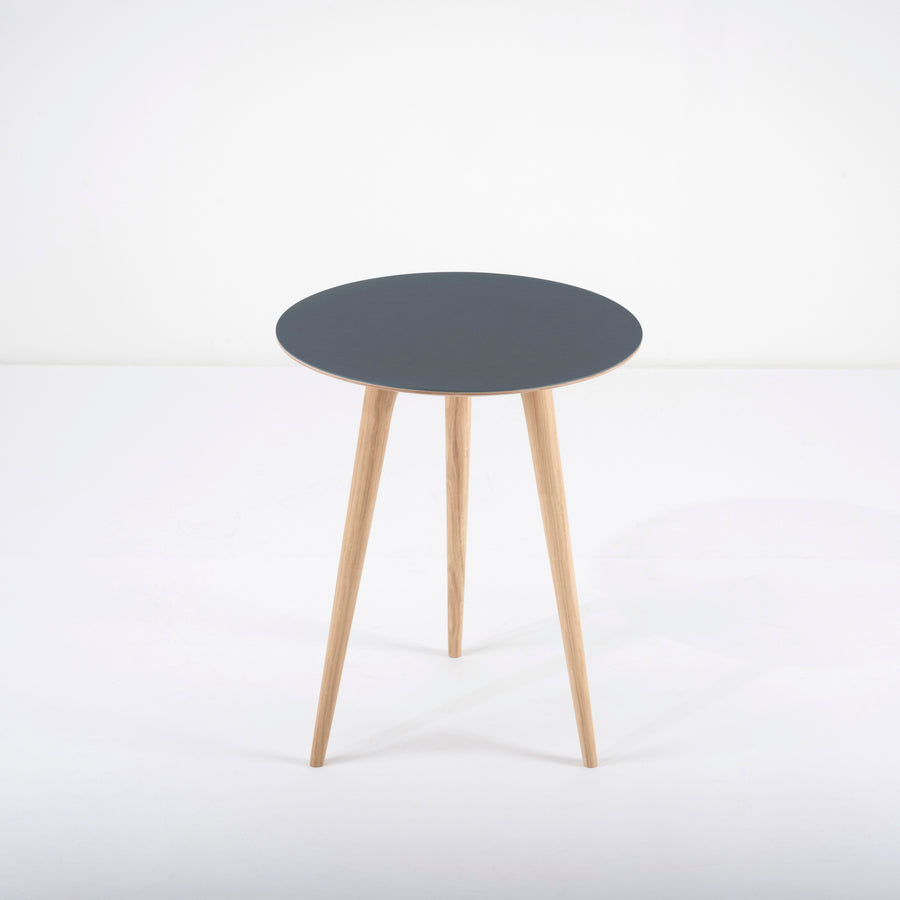 Gazzda Arp Side Table 45 in whitened Oak and Smokey Blue Linoleum