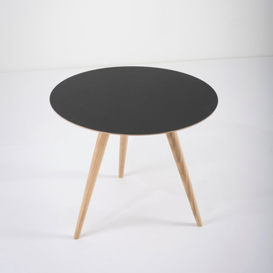 Gazzda Arp Side Table 55 in whitened Oak and Black Linoleum